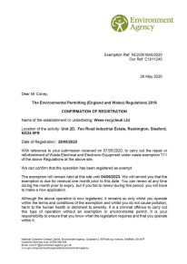 T11 Permit for WEEE-RecycleUK